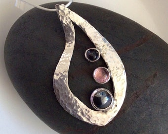 Sterling Silver Pendant with Pink Tourmaline, Hematite and Black Tiger's Eye