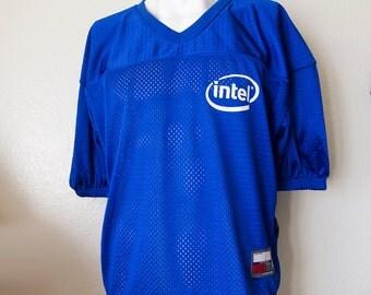 INTEL INSIDE // Vintage 90s Mesh Jersey Vaporwave Clothing Unisex Small Medium Cyberpunk Computer Geek Y2K 2000s Club Kid Cyber Rave