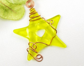Yellow Glass Star Ornament Suncatcher -  Fused Glass Christmas Ornament - Christmas Star Wrapped with Copper Wire - Yellow Star Ornament