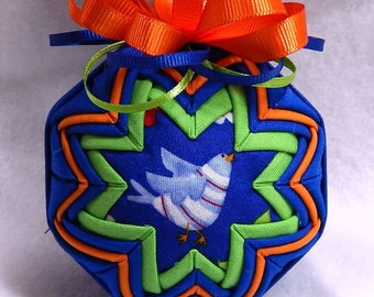 Quilted Ornament- Little Blue Bird