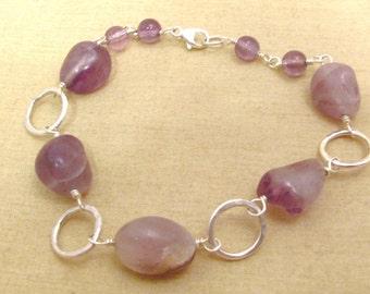 Amethyst bracelet - purple bracelet - amethyst beads - purple beads - rustic purple - rustic bracelet - silver purple - purple boho
