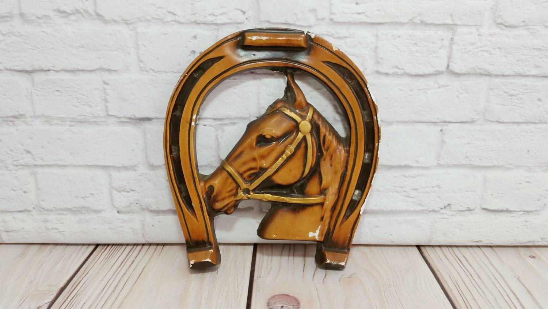 Vintage Chalkware Horse Wall Hanging Horseshoe Good Luck