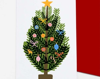 Bauble Tree Christmas / Holiday card set - free shipping for 3+ packs