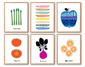 Fruit Art Print, Botanical Wall Art, Botanical Art Print, Kitchen Wall decor, Apple Print, Tomato Print, Kids room art, Baby nursery decor