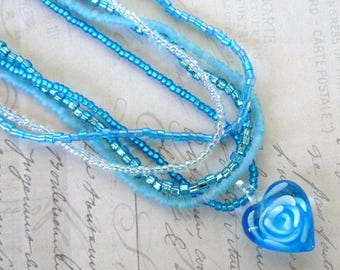 Turquoise Heart Pendant, Multi Strand Beaded Necklace, Aqua Glass Heart Jewelry, Glass Rose Heart Pendant, Summery Jewelry