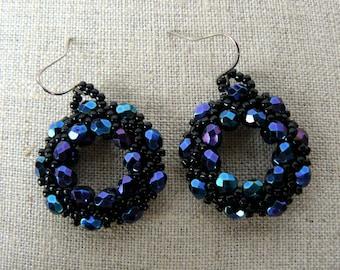 Sparkling Black Hoop Earrings, Iris Finish Blue and Black Earrings, Iridescent Black Beadwoven Earrings, Elegant Jewelry, Evening Jewelry