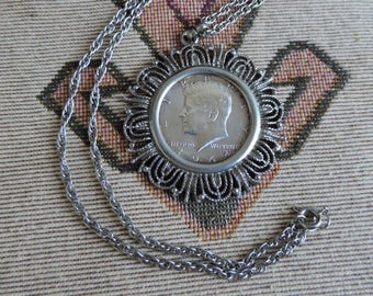 Vintage 1964 Kennedy Coin Necklace