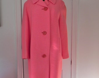 Vintage 1950s Chic Bubblegum Pink Wool Coat - Gorgeous - pockets -