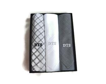 Monogrammed Handkerchiefs Mens Plaid Assorted Gray Chambray Plaid White Set of 3