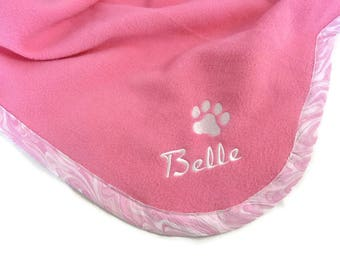 Pet Blanket.Personalized Pet Blanket. Dog Blanket. Cat Blanket. Fleece Pet Blanket. Pink Pet Blanket