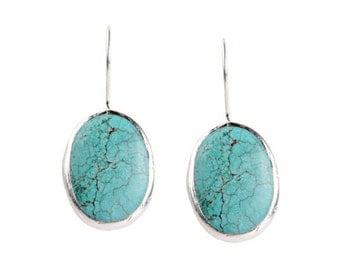 Turquoise Oval Earrings in silver