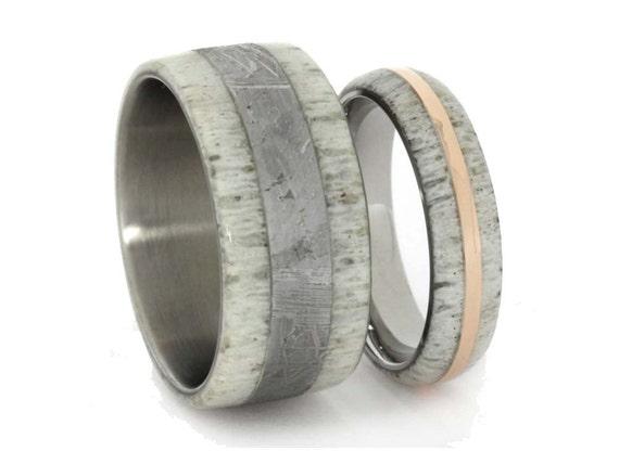 Men s and women s wedding band titanium rings with antler 14 k rose