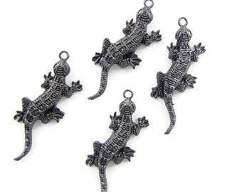 4 Hematite Dark Silver-tone Lizard Charm Pendants Textured