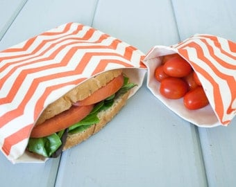 PLASTIC-FREE Coral Chevron Sandwich and Snack Bags, Reusable, Organic Cotton, Eco Friendly - Set of 2
