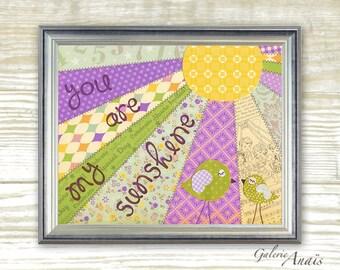 Purple yellow and green nursery - baby nursery decor - nursery wall art - children wall art - kids bird - You Are My Sunshine print