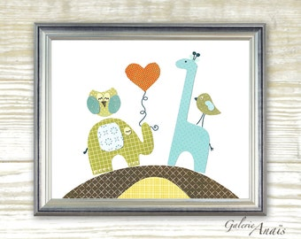 Owl Elephant Giraffe - Boys bedroom - green blue brown - baby shower gift - baby nursery decor - All Together