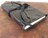 Dark brown reclaimed leather journal / sketchbook with recycled sketch paper by Binding Bee.