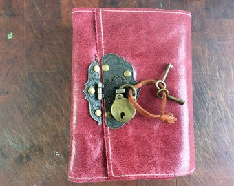keep your secrets safe with me / leather journal with lock and key by Binding Bee