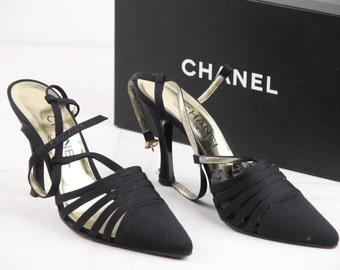 CHANEL Vintage Black Canvas SLINGBACK PUMPS Heels shoes w/ box Italian Size 39 1/2