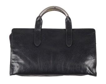 Authentic FENDI VINTAGE Blue Leather TOTE handbag w/ metal handles
