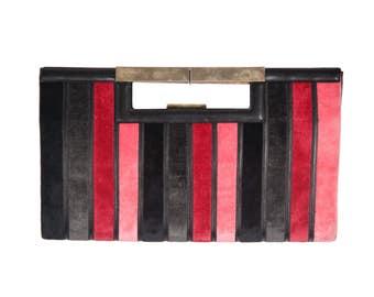 MAZZINI VINTAGE Striped Cut Out Velvet & Leather HANDBAG