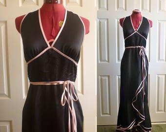 Black halter top mermaid style maxi dress. maxi dress. black halter top. Rebecca. Size M