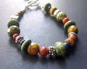 Multistone Beaded Bracelet, Gemstone Beaded Bracelet, Southwest Beaded Bracelet