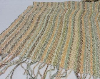 Handwoven Shawl, Summer Shawl, Beach Shawl, Wedding Shawl, Wedding Stole, Summer Stole, Handwoven Rayon Shawl,  #17-06A