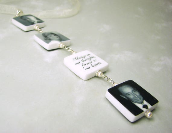 Wedding Bouquet Charms, 4 two-sided Memorial Photo Charms - Small