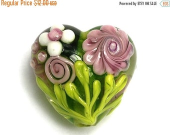 ON SALE 45% OFF Pink Rose w/Green Leaf Heart Focal Bead - Floral - Handmade Glass Lampwork Bead 11812005