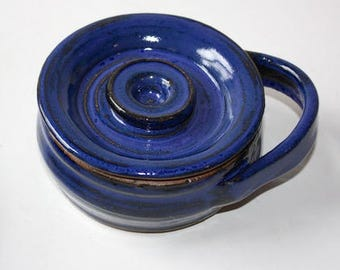 Bright  Blue Shaving Mug with Lid in Stoneware Vermont Made  An Anniversary or Birthday  Gift for A Man