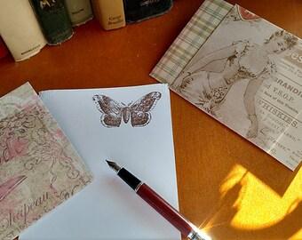 Stationery Letter Set Vintage Atlas Moth 10 sheets and 5 coordinating envelopes