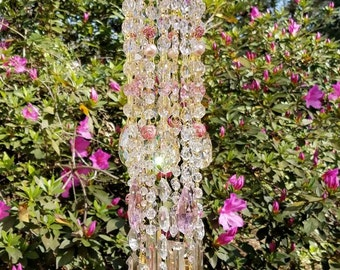 Antique Venetian Glass Crystal Wind Chime, Pink and Champagne Crystal Wind Chime, Crystal Sun Catcher, Garden Decoration, Home Decor