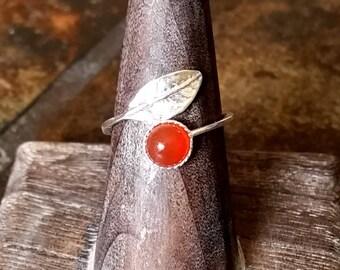 Carnelian Sterling Silver Leaf Wrap Ring