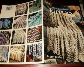 Ripple Afghan Crocheting Patterns Afghans by the Dozen Leisure Arts 2861 Crochet Pattern Leaflet Anne Halliday