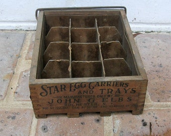 Antique Vintage Wooden Box Antique Vintage Egg Crate Star Egg Tray Antique Vintage Wood Box Crate