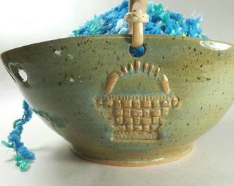 Yarn Bowl with Handle - Basket Design