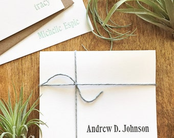 Personalized full name letterpress stationery