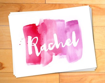 Girls Notecards, Watercolor Notes, Kids Thank you Cards, Script, Typography, Custom Childrens Thank You Notes, Personalized Notecards