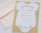 Boho Baby Shower Onesie Invitation - Glitter Shower Invitation - Vintage Floral Baby Shower Invitation - Baby Girl Invitation - Quantity 25