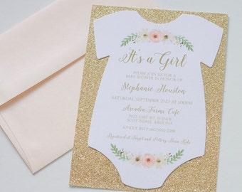 Boho Baby Shower Onesie Invitation - Glitter Shower Invitation - Vintage Floral Baby Shower Invitation - Baby Girl Invitation - Quantity 25