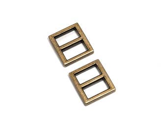 "100pcs - 5/8"" (16mm) Flat Diecast Slide Buckle - Antique Brass - (FBK-102) - Free Shipping"