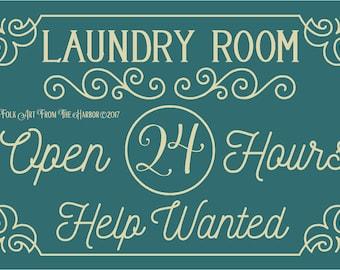 Laundry Room Open Primitive Stencil 7 mil  Mylar Reusable