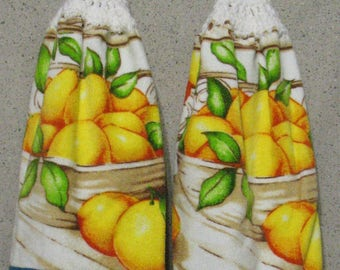 Bowl of Lemons on White Hanging Hand Towels Set of 2