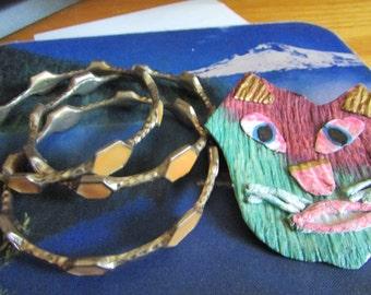 folk art cat bangles