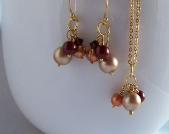 Gold Multi Color Mix Pearl Cluster Jewelry Set - Bridesmaid Gifts - Wedding Party Gifts - Mother of the Bride Gifts - Bridesmaid Jewelry Set
