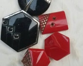 Vintage buttons, 5 assorted  red glass, black and red  Art Deco   (feb 212 17)