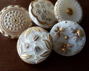 Vintage Buttons - lot of 5 milk glass hand painted medium size pressed glass  designs.  ( mar 118 17)