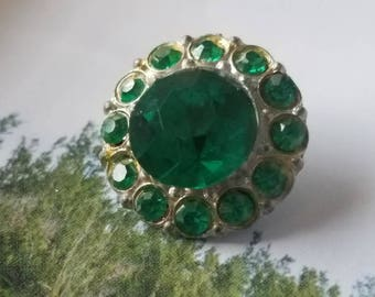 Vintage Button - 1  flower design emerald green rhinestone embellished,  antique silver finish metal (apr 336 17)