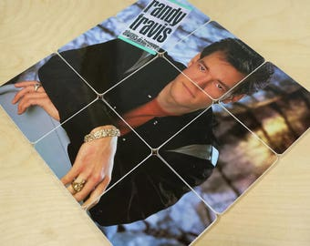 Randy Travis handmade wood coasters and vinyl bowl created from recycled Always & Forever record album